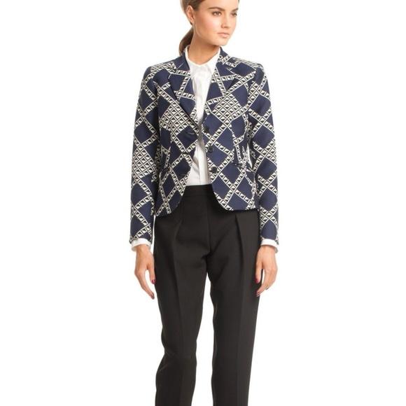 Trina Turk Jackets & Blazers - Trina Turk Minty Jacket Blazer Navy Blue White 12